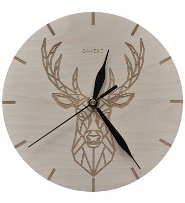 Zegar ścienny drewniany jeleń geometryczny