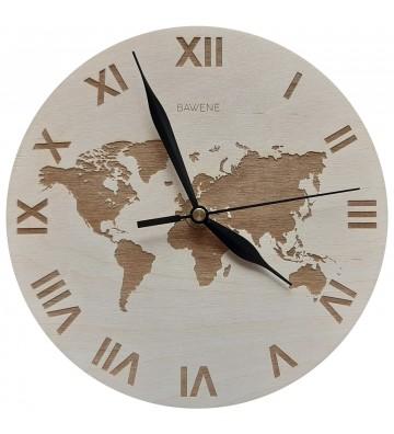 zegar ścienny drewniany mapa świata grawer