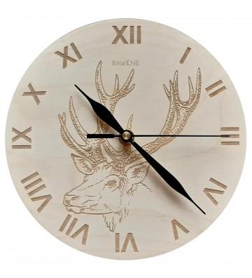zegar ścienny drewniany z jeleniem