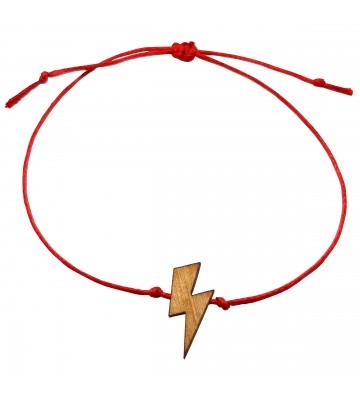 bransoletka szczęścia z błyskawicą - czerwona