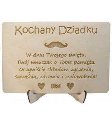 drewniana kartka na dzień dziadka