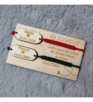 bransoletki dla par z imieniem oraz datą grawer