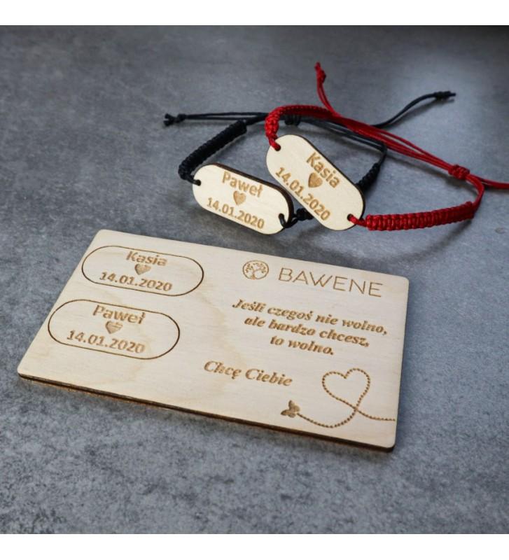 2 bransoletki dla par tabliczka z dedykacją