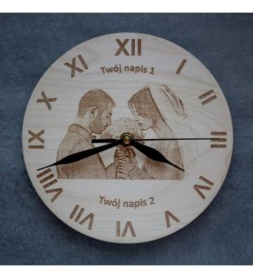 Zegar na ścianę z własnym zdjęciem oraz tekstem grawer drewno