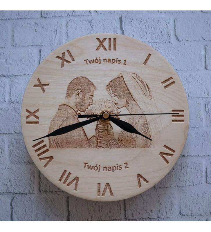 drewniany zegar ścienny z dowolnym zdjęciem