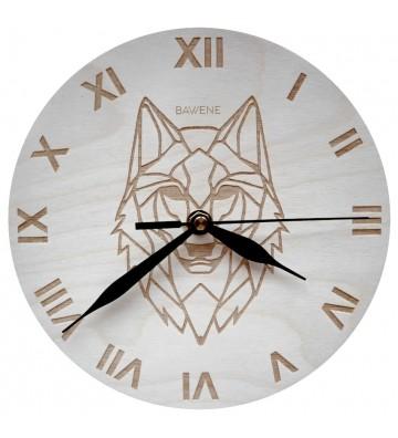 drewniany zegar ścienny do salonu wilk