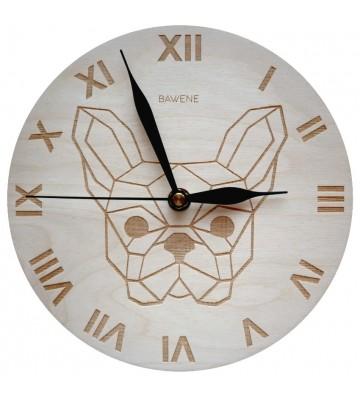zegar ścienny nowoczesny drewniany pies buldog