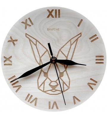 drewniany nowoczesny zegar ścienny z królikiem