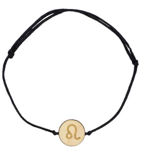 Drewniana bransoletka znak zodiaku - Lew - grawerowana