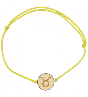 drewniana bransoletka znak zodiaku byk grawer