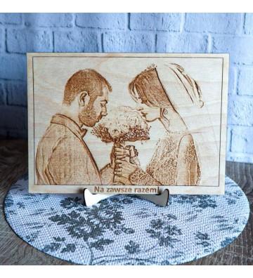 portret grawerowany ze zdjęcia na drewnie własny portret