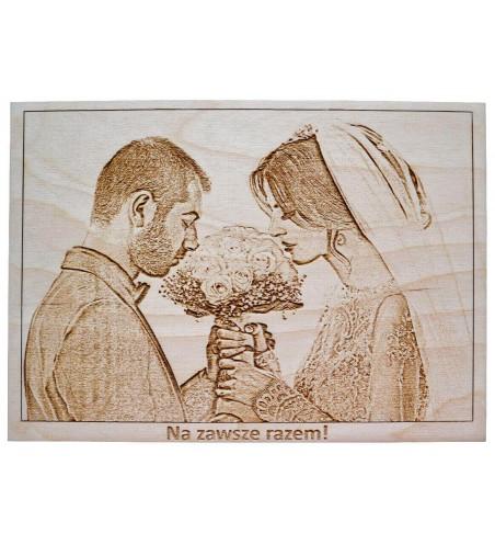 Portret ze zdjęcia obraz na drewnie grawer z napisem
