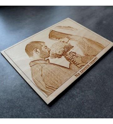 portret ze zdjęcia obraz na drewnie